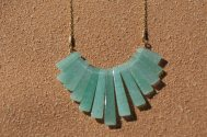 Green Aventurine(natural) fan necklace.