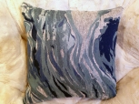 Blue/silver wave pattern pillow